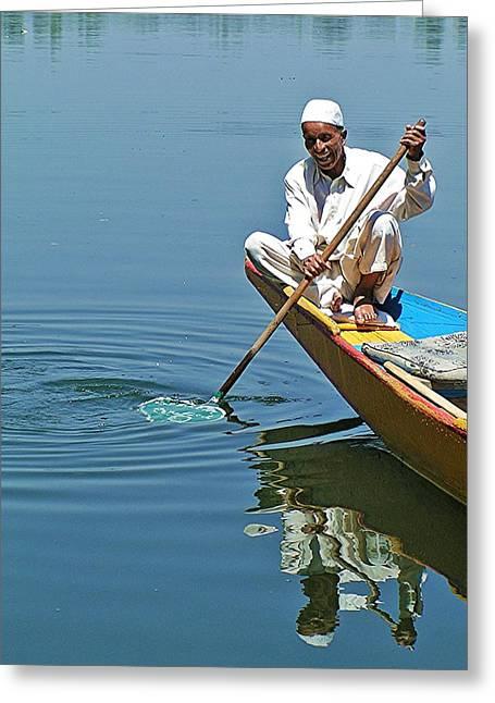 Dal Lake Greeting Cards - Dal Lake Boatman Greeting Card by David Rich