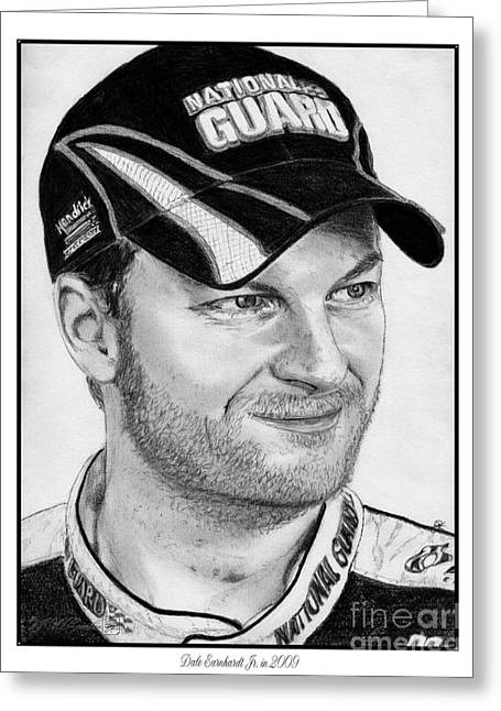 Jem Fine Arts Greeting Cards - Dale Earnhardt Jr in 2009 Greeting Card by J McCombie