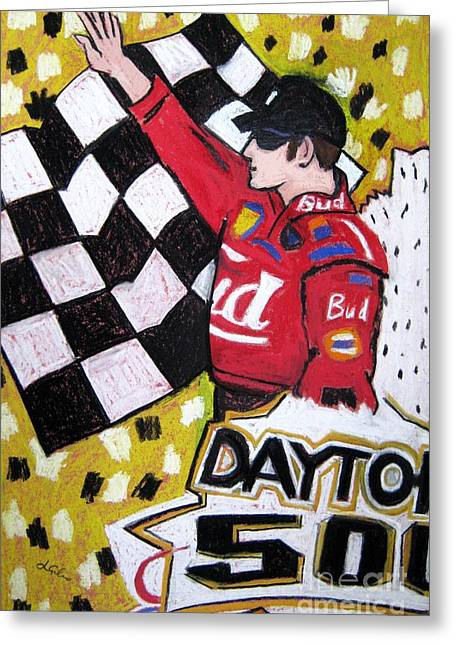 Dale Earnhardt Jr Greeting Cards - Dale Earnhardt Jr. Greeting Card by Lesley Giles