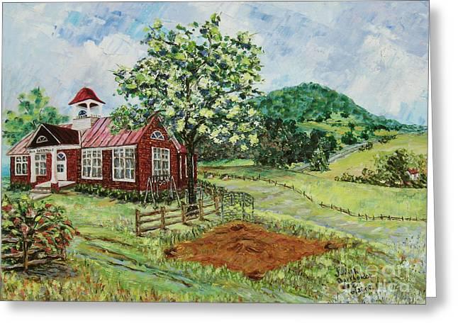 Brick Schools Paintings Greeting Cards - Dale Enterprise School Greeting Card by Judith Espinoza