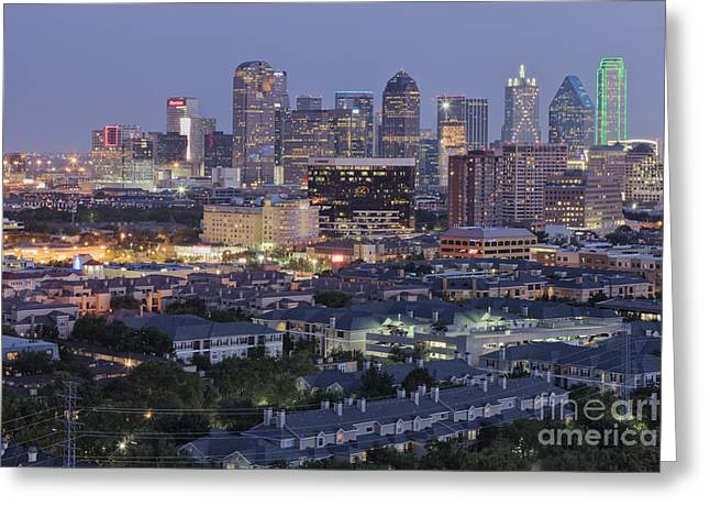Office Space Photographs Greeting Cards - Dallas Neighborhood in the Evening Greeting Card by Jeremy Woodhouse