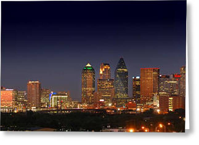 Night Scenes Greeting Cards - Dallas Skyline at Dusk Big Moon Night  Greeting Card by Jon Holiday