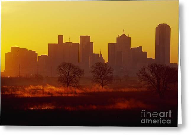 Office Space Photographs Greeting Cards - Dallas Skyline at Sunrise Greeting Card by Jeremy Woodhouse