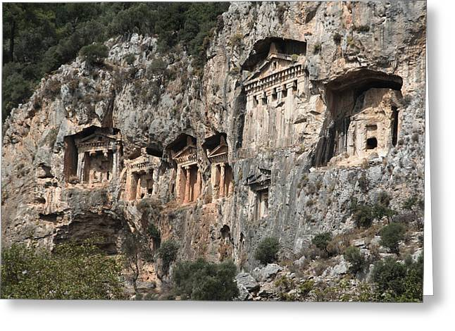 Ancient Ruins Greeting Cards - Dalyan Rock Tombs Turkey Greeting Card by Julie L Hoddinott