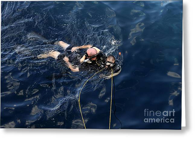 Diving Greeting Cards - Damage Controlman Performs Training Greeting Card by Stocktrek Images