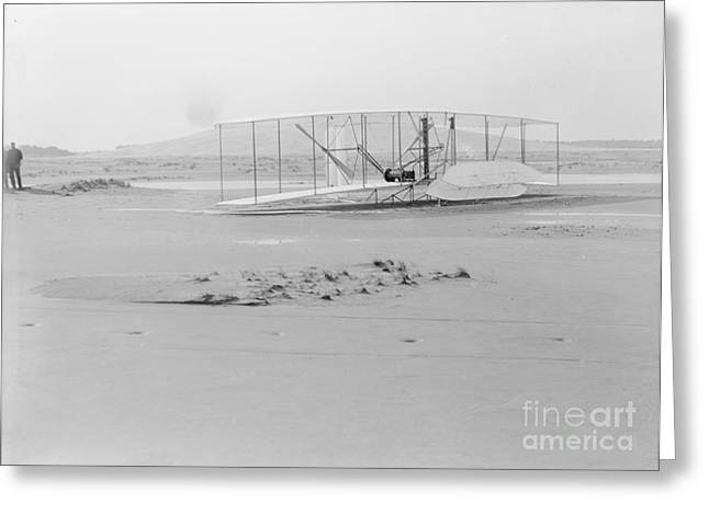 Famous Aviators Greeting Cards - Damaged Wright Flyer, 1903 Greeting Card by Science Source