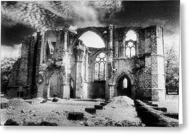 Awesome Greeting Cards - Dammarie les Lys Abbey Greeting Card by Simon Marsden