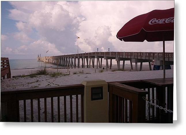 Panama City Beach Greeting Cards - Dan Russell Fishing Pier in Panama City Beach Florida Greeting Card by Andy Kim