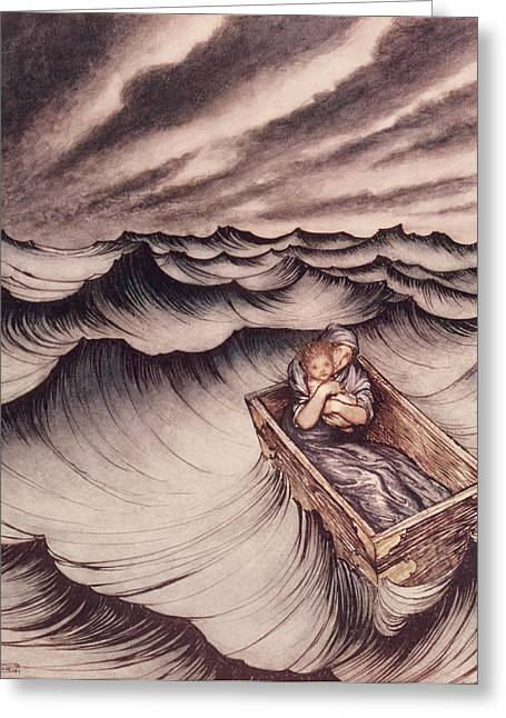 Danae Greeting Cards - Danae and her son Perseus put in a chest and cast into the sea Greeting Card by Arthur Rackham