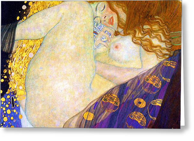 1907 Greeting Cards - Danae by Gustave Klimt Greeting Card by Pg Reproductions