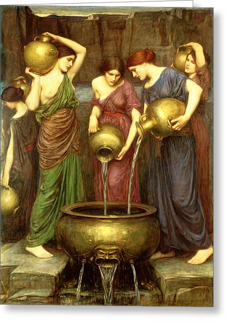 Water Jug Greeting Cards - Danaides Greeting Card by John William Waterhouse