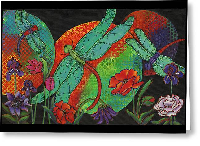 Dragonfly Art Greeting Cards - Dance At Dusk Greeting Card by Debbie McCulley