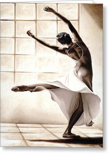 White Dress Paintings Greeting Cards - Dance Finesse Greeting Card by Richard Young