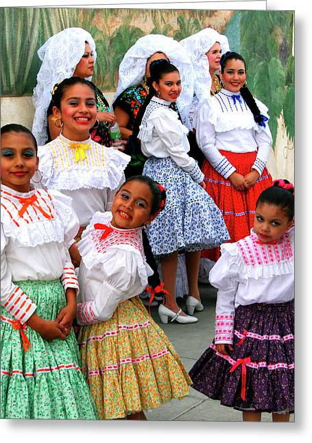 Mexican Dancing Greeting Cards - DANCE GIRLS DANCE Palm Springs Greeting Card by William Dey