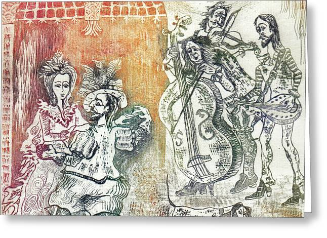 Drypoint Greeting Cards - Dance Greeting Card by Milen Litchkov