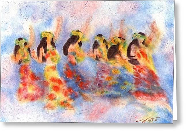 Hula Greeting Cards - Dance Of Paradise Greeting Card by John YATO