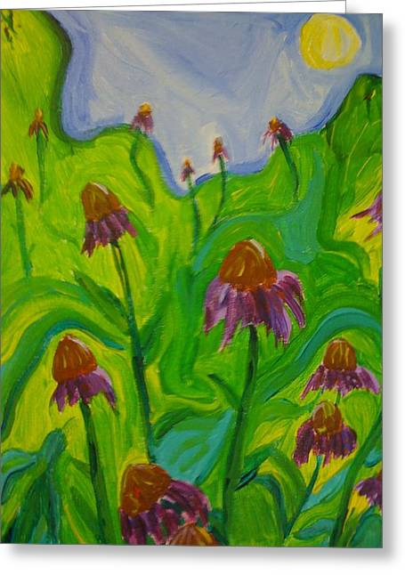 Abstracted Coneflowers Paintings Greeting Cards - Dance of the Coneflowers Greeting Card by Stephanie Mills