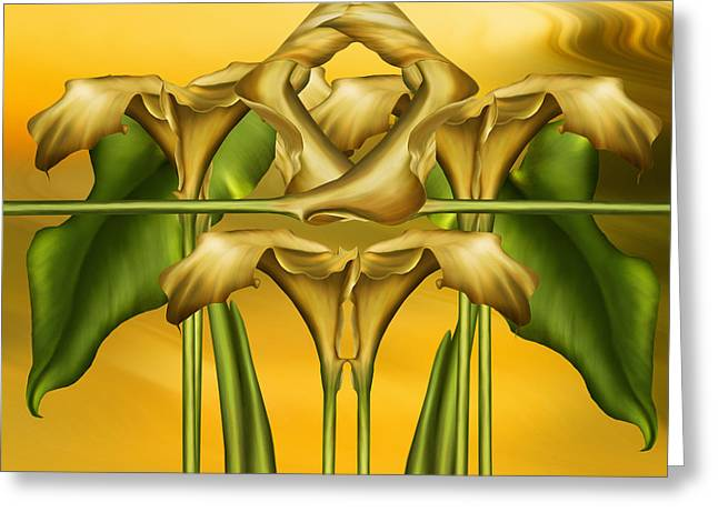 Flora Greeting Cards - Dance Of The Yellow Calla Lilies II Greeting Card by Georgiana Romanovna