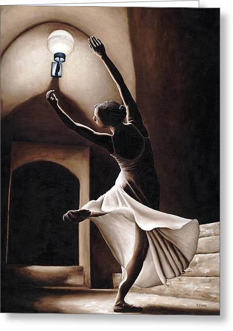 White Dress Paintings Greeting Cards - Dance Seclusion Greeting Card by Richard Young