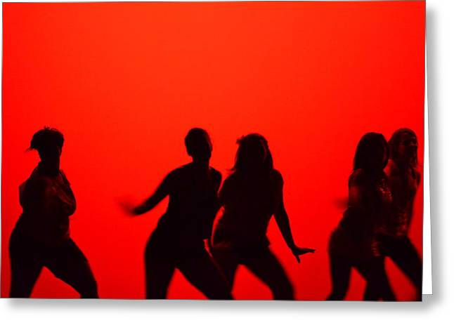Hip Hop Dance Art Greeting Cards - Dance Silhouette Group Greeting Card by Matt Hanson