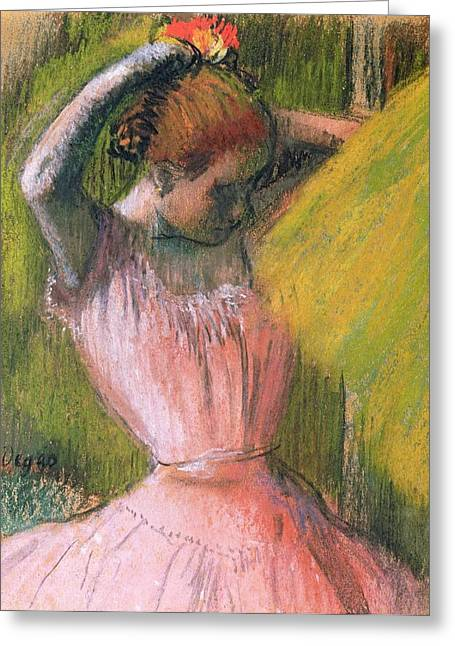 Ballerinas Pastels Greeting Cards - Dancer arranging her hair Greeting Card by Edgar Degas