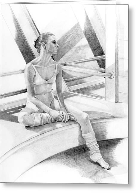 Ballet Dancers Drawings Greeting Cards - Dancer at Rest Greeting Card by Phyllis Tarlow