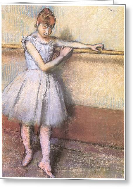 Ballet Dancers Pastels Greeting Cards - Dancer at the Bar Greeting Card by Edgar Degas
