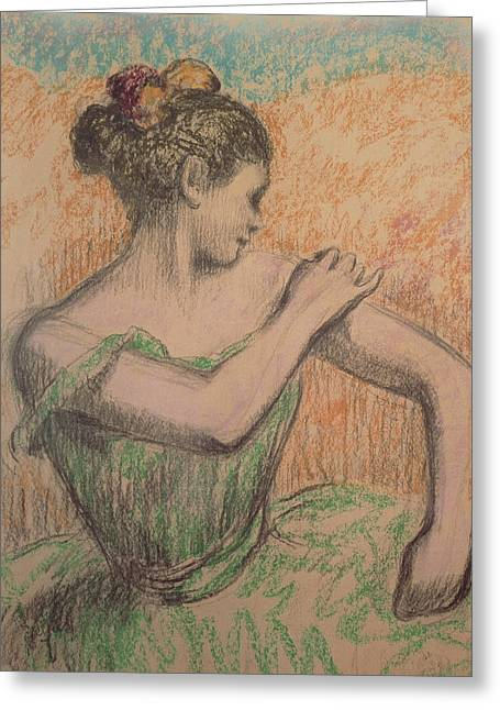 Ballerinas Pastels Greeting Cards - Dancer Greeting Card by Degas