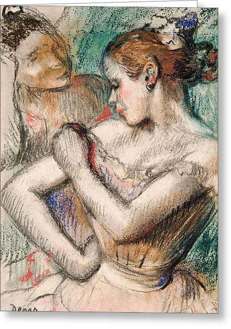 Ballerinas Pastels Greeting Cards - Dancer Greeting Card by Edgar Degas