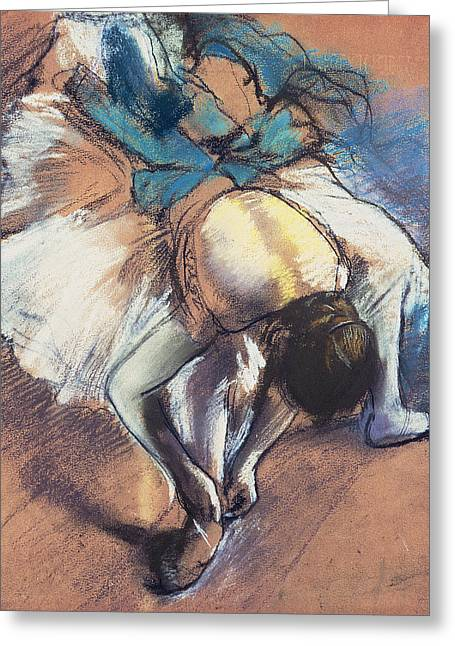 Signature Pastels Greeting Cards - Dancer Fastening her Pump Greeting Card by Edgar Degas