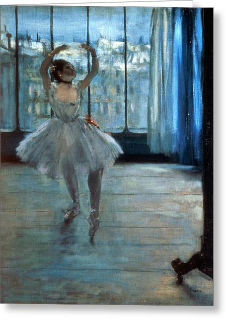 Posed Greeting Cards - Dancer in Front of a Window Greeting Card by Edgar Degas