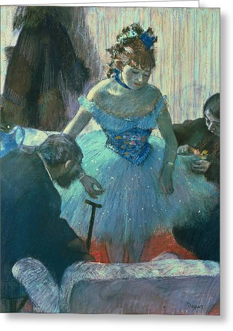 Performers Pastels Greeting Cards - Dancer in her dressing room Greeting Card by Edgar Degas