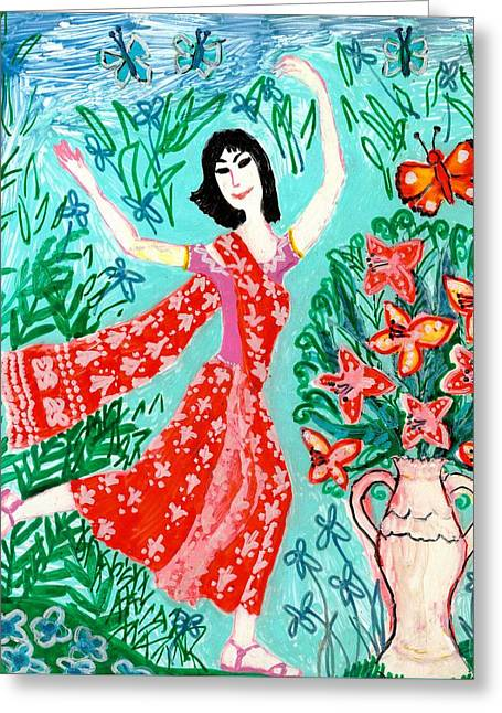 Reds Ceramics Greeting Cards - Dancer in red sari Greeting Card by Sushila Burgess