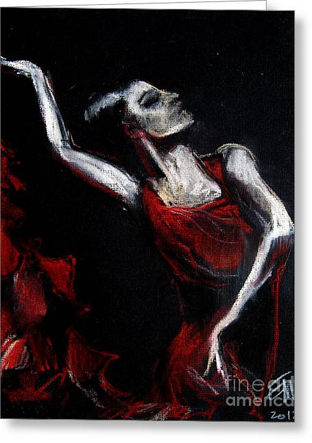 Expression Pastels Greeting Cards - Dancer Greeting Card by Mona Edulesco