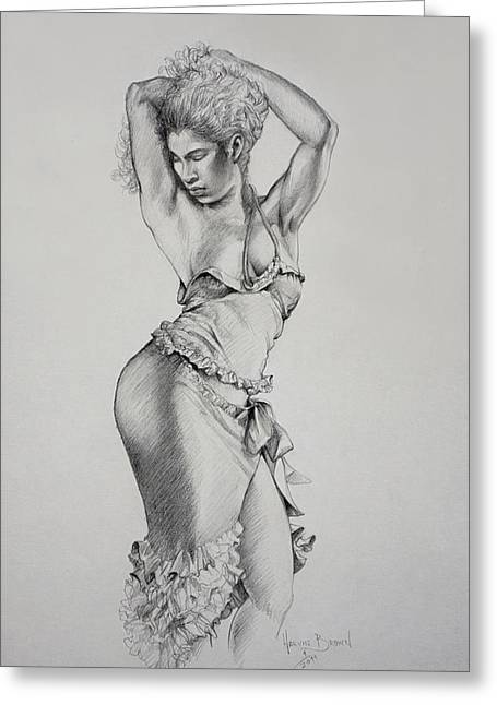 Graceful Drawings Greeting Cards - Dancer Muse Study Greeting Card by Harvie Brown