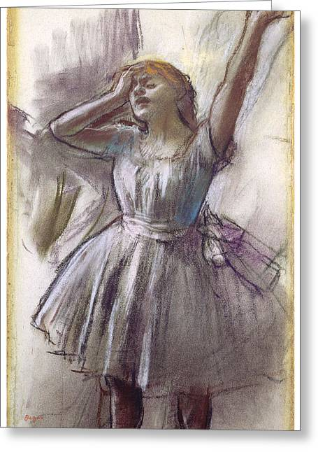 Ballet Dancers Pastels Greeting Cards - Dancer Stretching Greeting Card by Edgar Degas