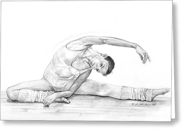 Ballet Dancers Drawings Greeting Cards - Dancer Stretching Greeting Card by Phyllis Tarlow