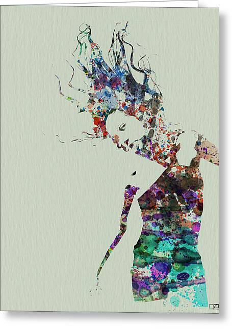 Silhouette Paintings Greeting Cards - Dancer watercolor splash Greeting Card by Naxart Studio