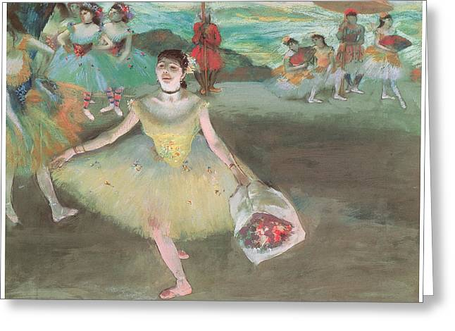 Ballet Dancers Pastels Greeting Cards - Dancer with a Bouquet Bowing Greeting Card by Edgar Degas
