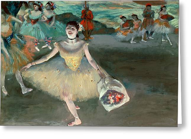 Degas; Edgar (1834-1917) Greeting Cards - Dancer with Bouquet Greeting Card by Edgar Degas