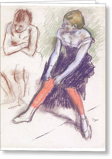 Ballet Dancers Pastels Greeting Cards - Dancer with Red Stockings Greeting Card by Edgar Degas