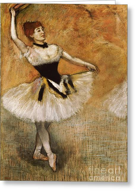 Dancers (pastel) By Edgar Degas (1834-1917) Greeting Cards - Dancer with Tambourine Greeting Card by Edgar Degas
