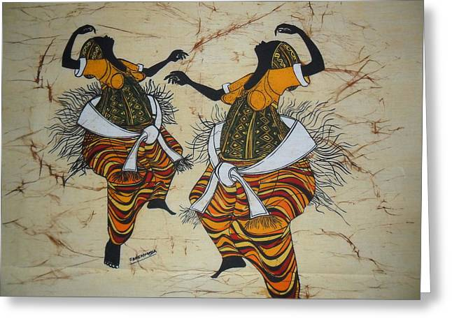 Dancer Tapestries - Textiles Greeting Cards - Dancers At Climax Greeting Card by Joseph Kalinda