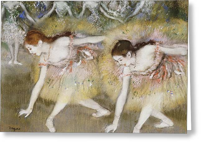 Ballet Dancers Paintings Greeting Cards - Dancers Bending Down Greeting Card by Edgar Degas