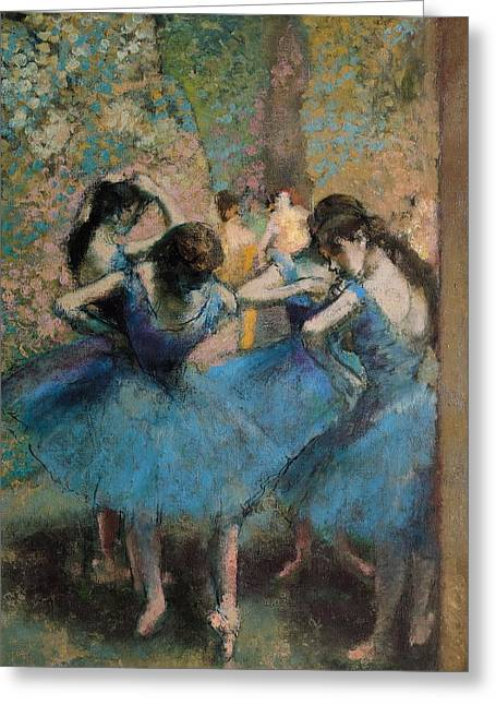 Ballet Dancers Paintings Greeting Cards - Dancers in blue Greeting Card by Edgar Degas