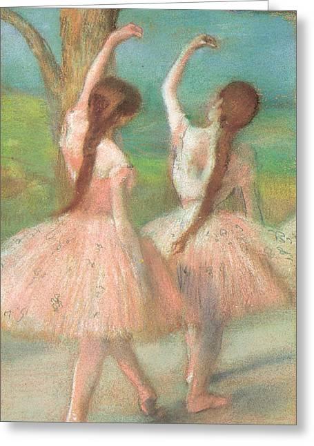 Dancers Pastels Greeting Cards - Dancers In Pink Greeting Card by Edgar Degas