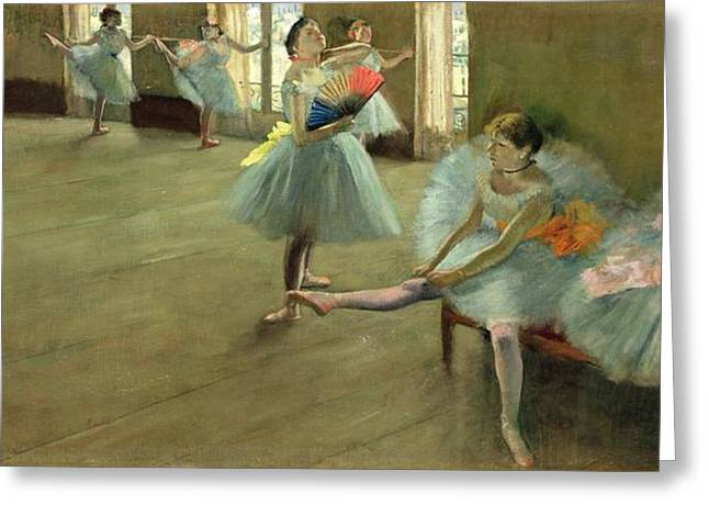 Ballet Dancers Paintings Greeting Cards - Dancers in the Classroom Greeting Card by Edgar Degas