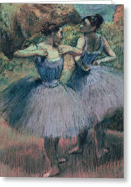 Ballerinas Pastels Greeting Cards - Dancers in Violet  Greeting Card by Edgar Degas