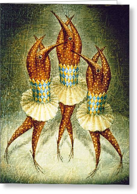 Birdman Greeting Cards - Dancers Greeting Card by Lolita Bronzini