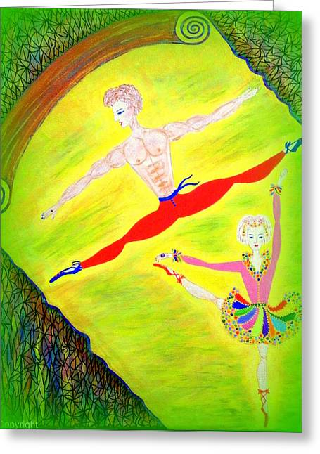 Dancer Rehearsal Greeting Cards - Dancers Greeting Card by Marie Schwarzer